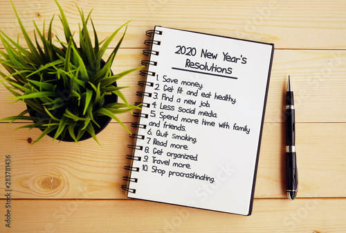 New Years Resolutions 2020.2020 New Year S Resolutions Text On Note Pad Buy This