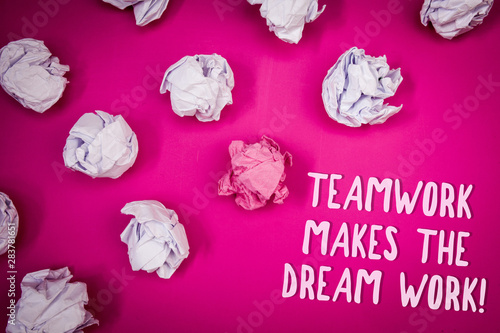 Conceptual hand writing showing Teamwork Makes The Dream Work Call Tablou Canvas