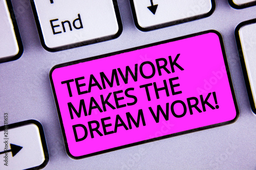 Handwriting text Teamwork Makes The Dream Work Call Canvas-taulu