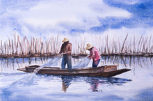 The Fisherman Catching The Fish In Watercolor Painting.
