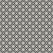 Vector Abstract Grid Seamless Pattern. Black And White Graphic Background. Simple Geometric Ornament. Monochrome Texture With Diamond Shapes, Stars, Rhombuses, Lattice, Repeat Tiles. Stylish Design