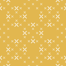 Vector Geometric Seamless Pattern With Small Flowers, Crosses. Elegant Minimalist Texture In Mustard Yellow Color. Abstract Minimal Repeat Background. Organic Design For Decor, Wallpapers, Package