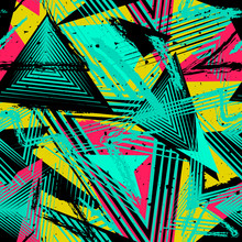 Abstract Neon Seamless Geometric Pattern. Colorful Sport Style Vector Illustration. Grunge Urban Art Texture With Chaotic Lines, Triangles, Brush Strokes. Turquoise Green, Red, Yellow And Black Colors