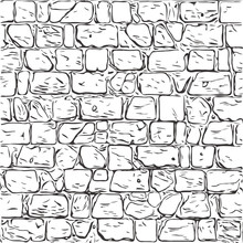 Hand-drawn Texture Of Brick Wall Or Sett. Castle  Stone Seamless Pattern Of Paver. Urban Style Structured Ornament In Line Art Style. Pattern Design For Travel, City Life, Adventure, Outdoors.