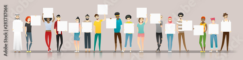 Obraz Group of young people holding empty boards , vector , illustration - fototapety do salonu