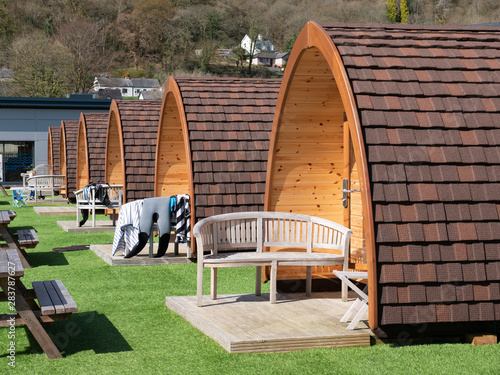 Obraz na plátně camping huts glamping site north wales uk