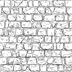 Fototapeta Architektura hand-drawn texture of brick wall or sett. castle stone Seamless pattern of paver. Urban style structured ornament in line art style. Pattern design for travel, city life, adventure, outdoors.