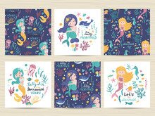 Set Of Seamless Patterns And Cards With Cute Mermaid