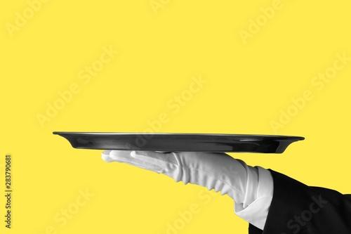 Obraz na plátne Elegant waiter hand in white glove holding an empty plate with  blank gradient background
