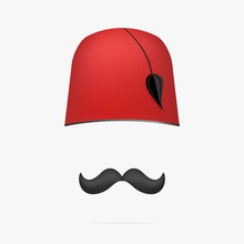 Ottoman Turkish Hat . Tarboosh Cap And Mustache .
