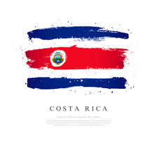 Flag Of Costa Rica. Brush Strokes Are Drawn By Hand.