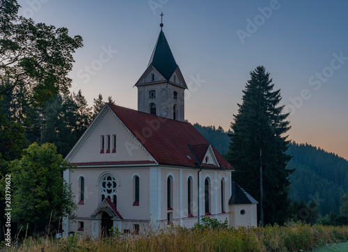 Church of Peter and Paul in Rotava town before sunrise in summer morning
