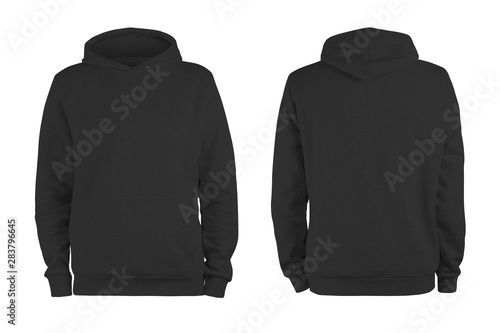 Fototapeta  Men's black blank hoodie template,from two sides, natural shape on invisible man