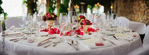 Fototapeta wedding - decorated table at luxury event obraz