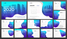 Desk Calendar 2020 Template Business. Week Starts On Monday. Set Of 12 Calendar Pages Designs Print Layout. Wall Calendar Planner Templates.