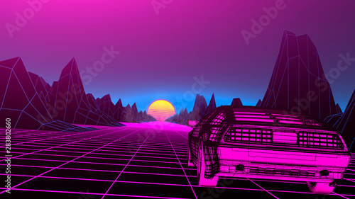 Papel de parede  Retro future, 80s style Sci-Fi Background
