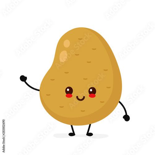 Obraz na plátně Happy cute smiling potato. Vector
