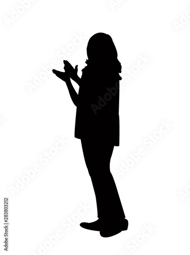 woman clapping silhouette vector Canvas Print