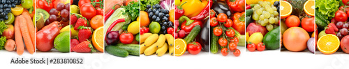 Poster Légumes frais Useful fruits, vegetables and berries isolated on white background.