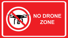 No Drone Allowed Sign. Flights With Drone Prohibited. No Fly Drone Red Sign. Vector Illustration