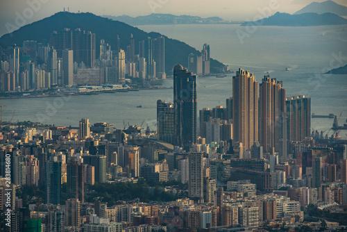Photo sur Toile Hong-Kong Hong Kong, China - August, 2019: Hong Kong city scape, modern building skyscraper in Hong Kong