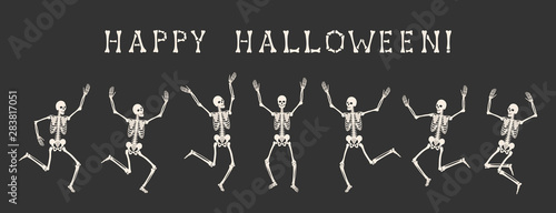 Spoed Fotobehang Halloween Happy Halloween. Dancing human skeletons on party of skeletons. Seven white silhouettes of skeletons are isolated on black background. Vector illustration