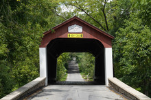 Historic Van Sandt Covered Bridge, Also Known As The Beaver Dam Bridge Is A Town Truss Bridge, Built With Overlapping And Connected Triangles That Distribute Weight Equally Over The Length.