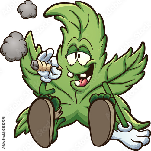 Cartoon cannabis plant character smoking a marihuana joint clip art Fototapeta