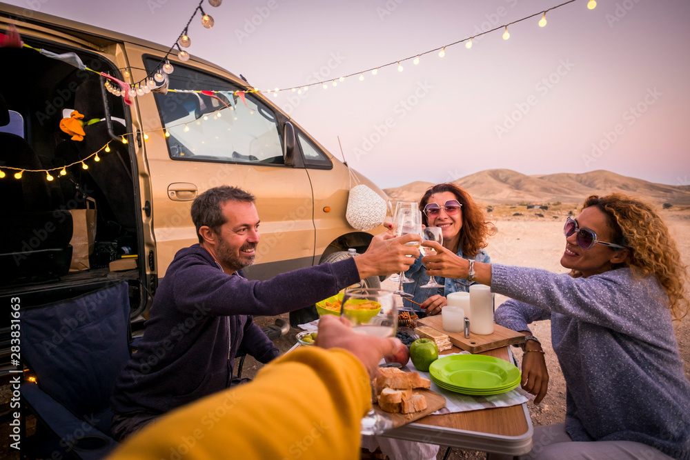 Fototapety, obrazy: Happy people group of friends toasting and enjoying the travel vacation together - cheerful. womanandman with food in outdoor leisure activity - modern van and ocean in background