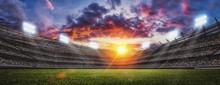 Soccer Stadium, Green Grass An...