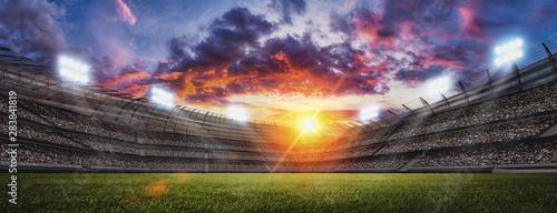 Photo  Soccer stadium, green grass and night sky. 3d renering