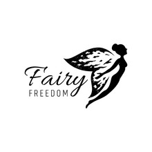 Fairy Logo With Rustic/grunge Wings.flat Style.flying Fairy Vector Illustration