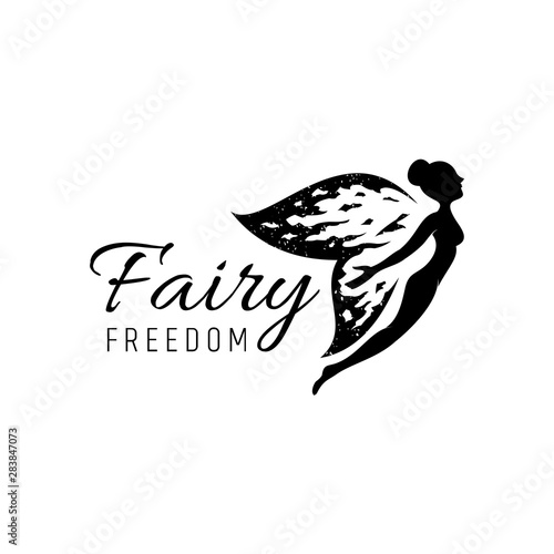 fairy logo with rustic/grunge wings Wallpaper Mural