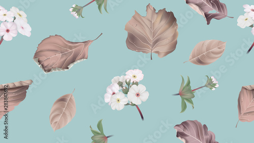 Botanical seamless pattern, Woolly rock jasmine flowers with dried leaves on blue, pastel vintage theme