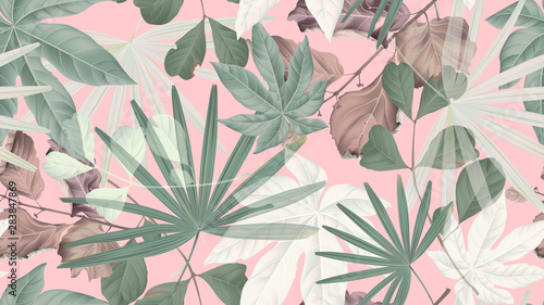 Botanical seamless pattern, green, brown and white tropical leaves on pink, pastel vintage theme