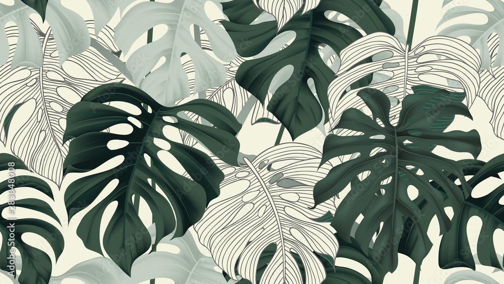 Fototapeta Botanical seamless pattern, split-leaf Philodendron plant on light yellow, pastel vintage theme
