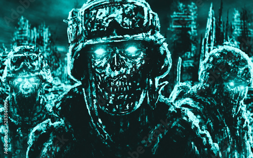 Evil zombie soldiers against the background of ruined city. Canvas Print