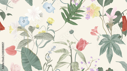 Botanical seamless pattern, various flowers and leaves on light brown, pastel vintage theme