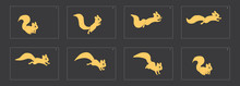 Animal Run Cycle. Cartoon Squirrel Sprites Ready For Animation