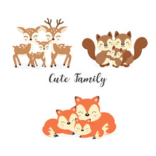 Set Of Cute Family Woodland An...