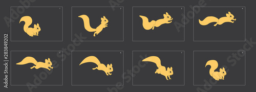 Fotomural Animal run cycle. Cartoon squirrel sprites ready for animation