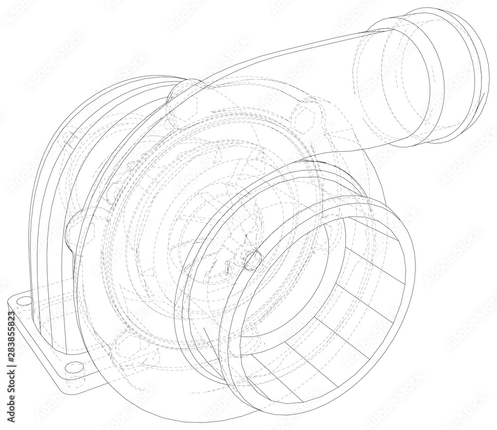 Fototapety, obrazy: Turbocharger with wire-frame isolated on white background. Illustration created of 3d.
