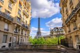 Fototapeta Paryż - Paris France city skyline at Eiffel Tower and Paris architecture building