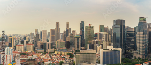 Singapore high angle view panorama city skyline at Singapore business district Wallpaper Mural