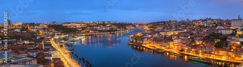 Fotografie, Obraz  Porto Portugal night panorama city skyline at Porto Ribeira and Douro River