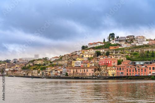 Obraz na plátně  Porto Portugal city skyline at Douro River