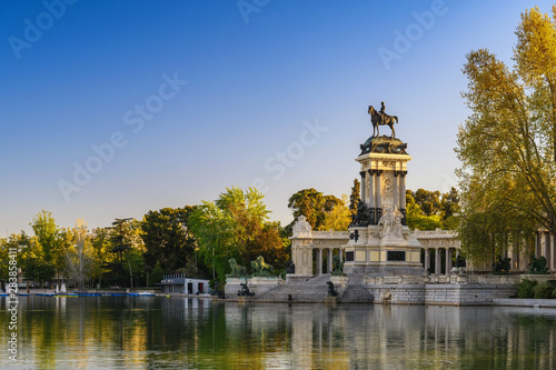 Fotografie, Obraz  Madrid Spain, city skyline at El Retiro Park
