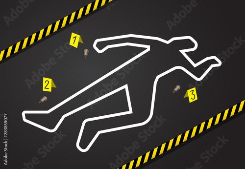 Fototapeta Crime scene, do not cross police tape