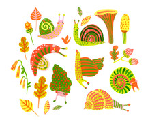Cute Colorful Snails, Flowers, Leaves, Mushrooms Isolated On White Background. Nursery Art Illustration