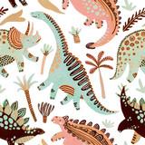 Fototapeta Fototapety na ścianę do pokoju dziecięcego - Cute cartoon dinosaurs seamless pattern in scandinavian style